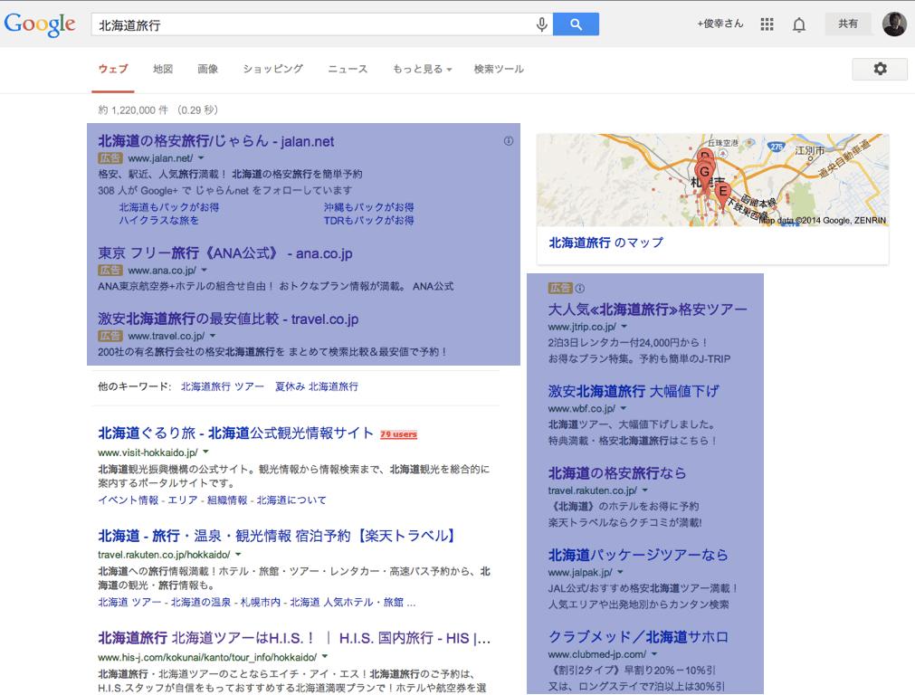 Googleで「北海道旅行」と検索した場合の検索結果画面